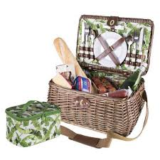 picnic basket set for 4 100 genuine avanti 4 person willow picnic basket set tropical leaf