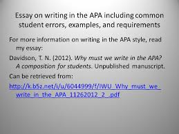 writing in apa format example writing in the apa style ppt download