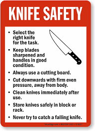 safety kitchen knives knife safety guidelines sign food and kitchen safety sku s