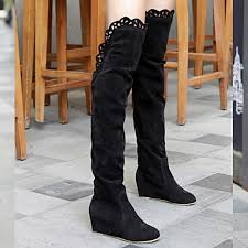 womens suede boots nz s shoes nz suede covered low heel elevator knee boots