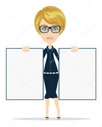 cartoon teacher businesswoman in glasses holding two posters white