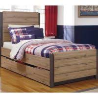 bedroom natural polish wooden bed with drawer using grey bedding