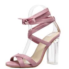 aliexpress com buy women sandals pink ankle strap perspex high