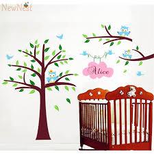 stickers chambre b b personnalis pépinière arbre hiboux avec personnalisé nom de l enfant enfants