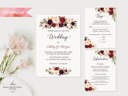 vistaprint wedding invitations printable burgundy floral wedding invitation set editable pdf
