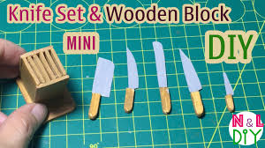 diy miniature kitchen knife set with wooden block dollhouse
