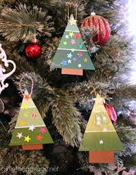 easy paint chip tree ornament in the garage