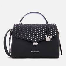 lyst michael michael kors lenox medium satchel in black