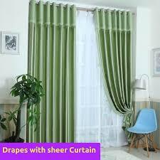 blockout green valance fabric bedroom door curtain drape sheer