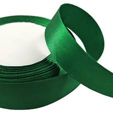 green satin ribbon reel 22 metres single faced sided satin ribbon 6mm 10mm 15mm