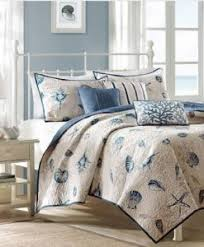 Starfish Comforter Set Max Studio Starfish Aqua Blues White Stripes 3 Pc Quilt Set Full