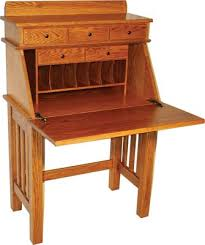 Craftsman Style Computer Desk Three Drawer Dutch Secretary Desk Indiana Amish Desk