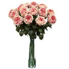 Silk Flowers Arrangements - nearly natural fancy rose silk floral arrangements in pink