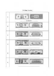 worksheet u s paper currency