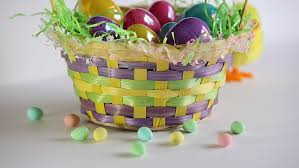 painted easter baskets background easter basket with painted eggs spinning