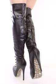 womens boots leather black black looped thigh high platform boots faux leather