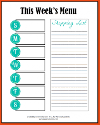 weekly menu templates free template weekly menu template