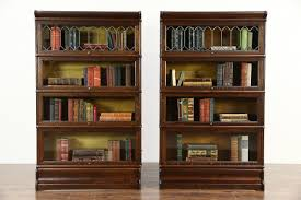 Glass Bookcases Sold Pair Of Oak 4 Stack 1900 Antique Lawyer Bookcases Leaded