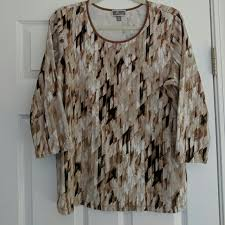 brown collection 54 jm collection tops jm collection brown print top 0x from