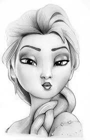 tegning af drawing elsa frost frozen fotorealistisk blyant