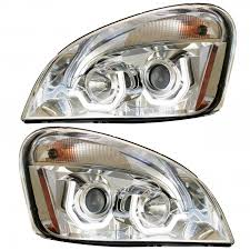 Position Light Freightliner Cascadia Chrome Projection Headlight Set With Led Bar