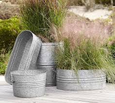 Galvanized Trough Planter by Eclectic Galvanized Metal Planters Pottery Barn