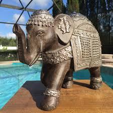 new trunk up lucky elephant statue figure feng shui home decor