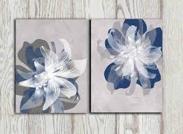 Gray Navy White Bedroom Navy Blue Gray Flower Wall Art Prints Large Poster Print