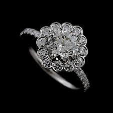 scalloped engagement ring 14k white gold scalloped flower engagement ring setting