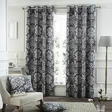 Damask Kitchen Curtains by Catherine Lansfield Home Toile Damask Eyelet Lined Curtains