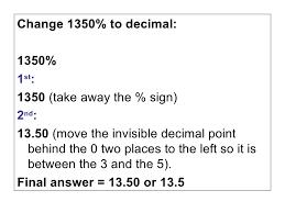 percent to decimal percent to decimal