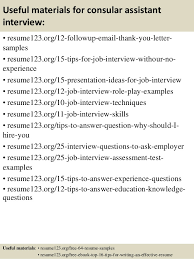 top 8 consular assistant resume samples
