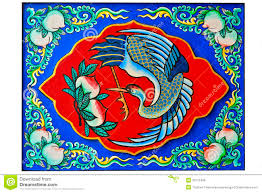 oriental design of chinese crane bird and peaches painting royalty