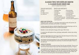 allagash trifle with interlude sabayon and black ginger cake