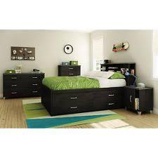Black Bookcase Headboard Acme Mallowsea 4pcs Black Bookcase Full Storage Bedroom Set Ebay