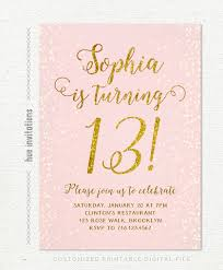 13th birthday invitation for pink gold teen birthday party
