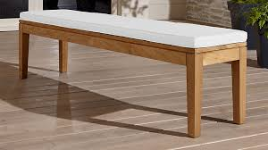 teak dining bench with white cushion crate and barrel
