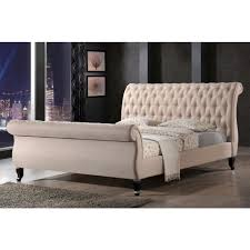 King Upholstered Sleigh Bed Luxeo Nottingham Sand King Sleigh Bed Lux K6317 222 The Home Depot