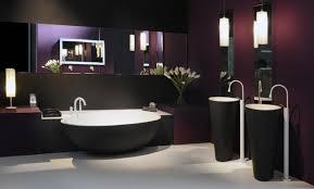 bathroom black egg shaped bathtub white floor mirror purple