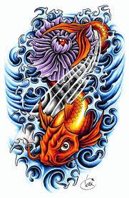 waves and lotus tattoos sketch