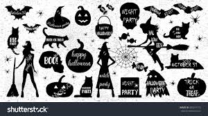 vector halloween halloween silhouettes witch pumpkin black cat stock vector