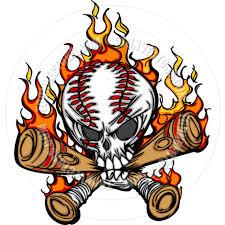 softball cartoon softball baseball skull and bats flaming