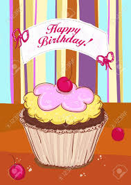 happy birthday card template with cupcake with cherry royalty free