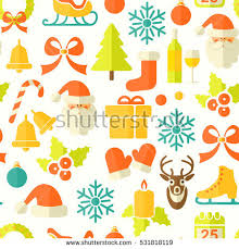 christmas vector seamless background flat icons stock vector