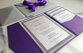 purple silver wedding invitations metallic pocket fold