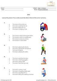 primaryleap co uk picture sentences jobs worksheet