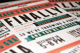 free typography style college graduation invitation indesign