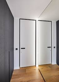 Modern White Interior Doors Modern White Interior Door With A Black Door Frame And Handle