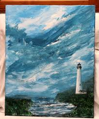 lighthouse acrylic painting on 16 x 20 stretched canvas unframed art large art office art original canvas art wall decor seascape art by