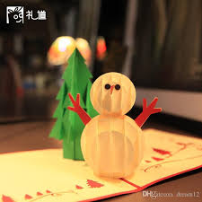 Cheap Holiday Cards For Business Christmas Greeting Cards 3d Paper Cutting Christmas Tree Snowman